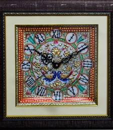Buy eCraftIndia Colorful Peocock Marble Wall Clock with LED & Wooden Frame wall-clock online