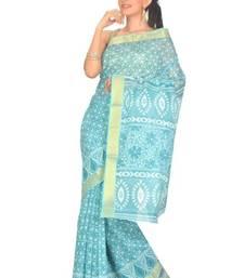 Buy Aria Printed Blue Cotton Saree TTS1007 cotton-saree online