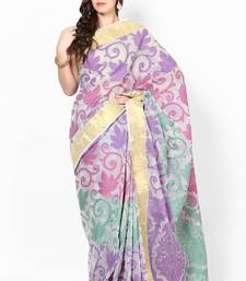 Buy Moonga Cotton Check Fancy Banarasi Saree banarasi-saree online