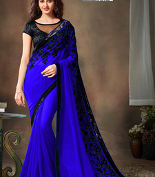 Blue embroidered georgette saree with blouse shop online
