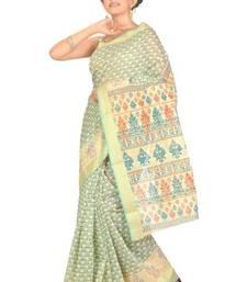 Buy Aria Printed Green Cotton Saree TTS1009 cotton-saree online