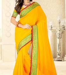Buy Yellow color faux chiffon saree with blouse chiffon-saree online