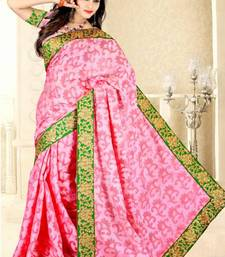 Buy Baby pink color Jute Jacquard  saree with blouse jute-saree online