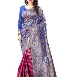 Buy Blue printed banarasi silk saree with blouse banarasi-silk-saree online