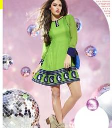 Buy Fabdeal Green Colored Viscose Georgette printed Kurti kurtas-and-kurti online
