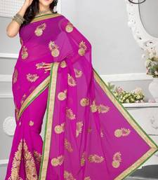 Buy Stylish Dark Magenta Color Faux Chiffon Party Wear Saree with Blouse chiffon-saree online