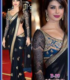 Buy Priyanka chopra bollywood black net saree wedding-saree online