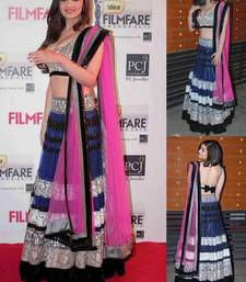 Buy Alia bhatt Blue lehenga with pink dupatta. bollywood-lehenga online