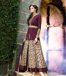 Buy purple embroidered bhagalpuri cotton semi stitched salwar with dupatta semi-stitched-salwar-suit online