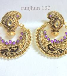 Buy trendy polki peacock danglers purple danglers-drop online