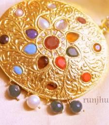 Buy gold patra navratan jaipuri necklace Necklace online