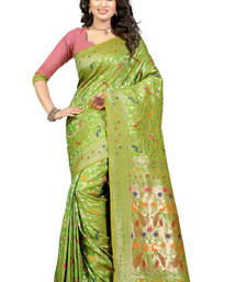 Buy Green embroidered patola saree with blouse patola-sari online