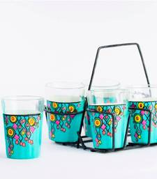 Buy Set of 6 Hand Painted Tea Glasses or candle holder for your sister.  tg wc pot online