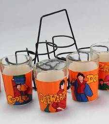 Buy Amitabh Bachchan Movies hand painted tea glasses or candle holder for your brother. tg bb other-home-accessory online
