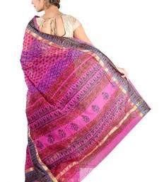 Buy kota doria hand block saree with zari & silk border cotton-saree online
