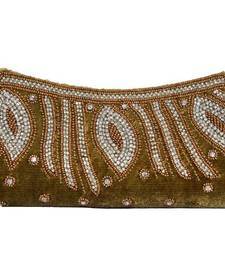 Buy Velvet Bridal Designer Clutch in Gold Color clutch online