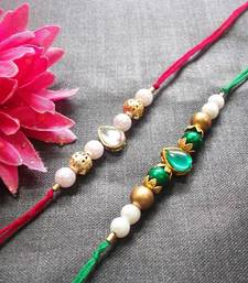 Green And White Kundan Rakhi  shop online