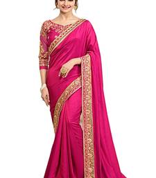 Buy pink embroidered art silk saree with blouse silk-saree online