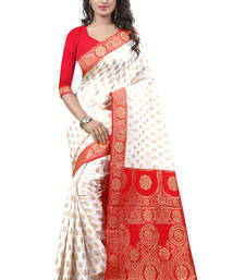 Buy Red crepe silk saree with blouse crepe-saree online