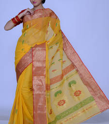 Buy Golden Yellow Cotton Handloom Party and Festival Saree cotton-saree online