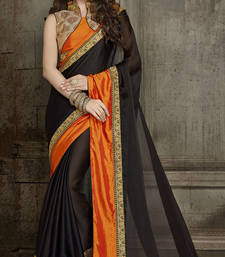 Buy black embroidered chiffon saree with blouse wedding-saree online