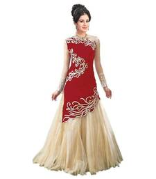 Buy Red embroidered net semi stitched salwar suits semi-stitched-salwar-suit online