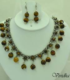 Buy White Metal and Tiger eye Beads Necklace set necklace-set online