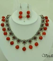 Buy White Metal and Red/maroon Beads Necklace set necklace-set online