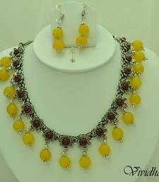 Buy White Metal and Yellow Beads Necklace set necklace-set online