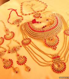Buy Gold Look Red Polki Stone Bridal Necklace Set bridal-set online
