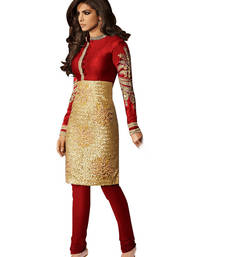 Buy Red embroidered brocade semi stitched salwar with dupatta party-wear-salwar-kameez online