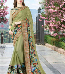 Buy Mehendi embroidered georgette saree with blouse wedding-saree online