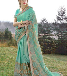Buy Light parrot green embroidered georgette saree with blouse wedding-saree online