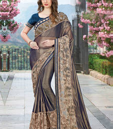 Buy Light black embroidered georgette saree with blouse wedding-saree online