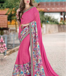 Buy Rani pink embroidered georgette saree with blouse wedding-saree online