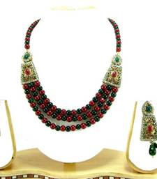 Aria Maroon green bead 3 line cz gold tone necklace earring set a3 shop online