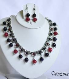 Buy White Metal and Blue/Red Beads Necklace set necklace-set online