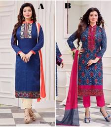 Buy Blue embroidered cotton unstitched salwar with dupatta salwar-combo online
