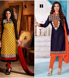 Buy Multicolor embroidered cotton unstitched salwar with dupatta salwar-combo online