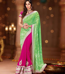 Buy Blooming Green & Pink Georgette Embroidered Saree designer-embroidered-saree online
