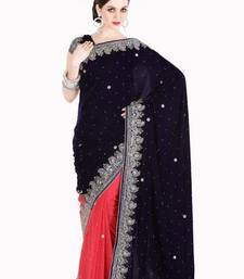 Buy Diwali Sarees Offers Fascinating Dark Blue and Peach Velvet and Faux Georgette Saree with Blouse diwali-discount-offer online