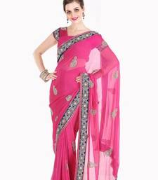 Buy Fascinating Fuchsia Pink Faux Georgette Saree with Blouse Diwali sarees discount diwali-discount-offer online