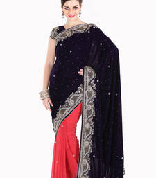 Buy Stylist Dark Blue and Peach Velvet and Faux Georgette Saree with Blouse diwali-discount-offer online