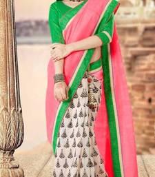 Buy Designer Pink & Off-white Bhagalpuri Silk Saree viscose-saree online