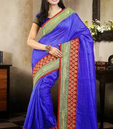 Buy Sophisticated Royal Blue Color Bhagalpuri Silk Saree with Blouse bhagalpuri-silk-saree online