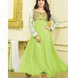 Karishma Kapoor Geogette Stone Work Light Green Semi Stitched Long Anarkali Suit By fabfiza shop online