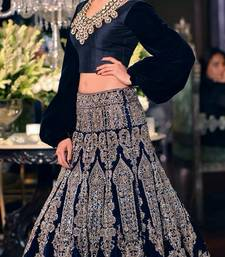 Buy NEAVY BLUE BADLA ZARI WORK SILKY VELVET BRIDAL LAHENDA WITH DUPATTA bridal-lehenga online