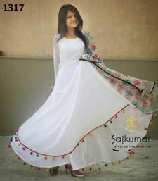 Buy White plain georgette semi stitched salwar with dupatta ethnic-suit online