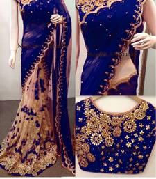 Buy Blue embroidered faux georgette saree with blouse georgette-saree online