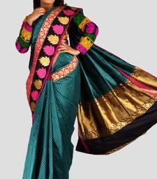 Buy Trendy Turqouise Blue Pure Banarasi Silk saree with Black blouse - SR1122 silk-saree online
